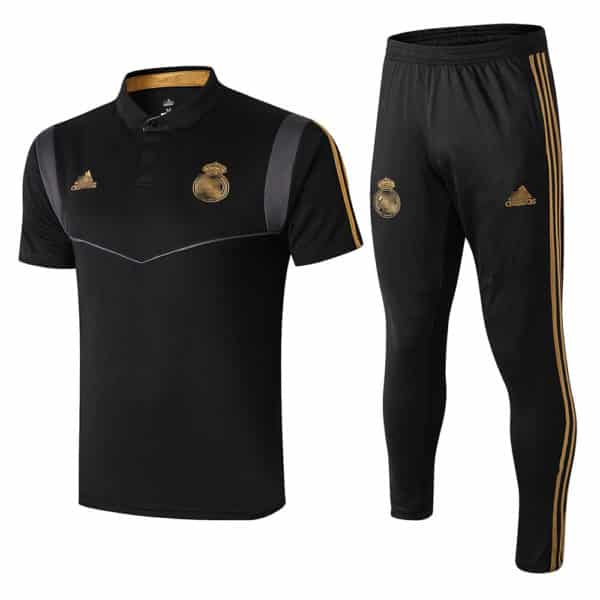 polo real madrid negro y dorado